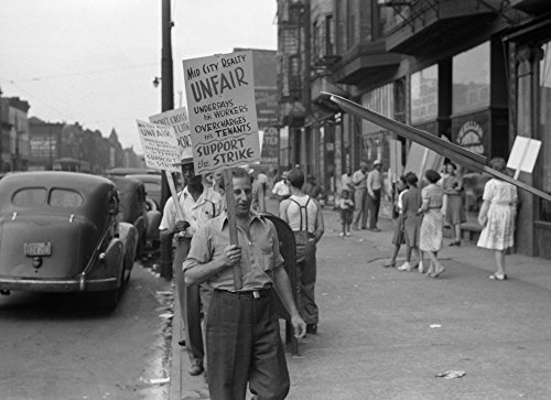 Chicago Picket Line 1941 Npicketers Outside Of The Mid-City Realty Company On The South Side Of Chicago Illinois Photograph By John Vachon 1941 Poster Print by (18 x 24)