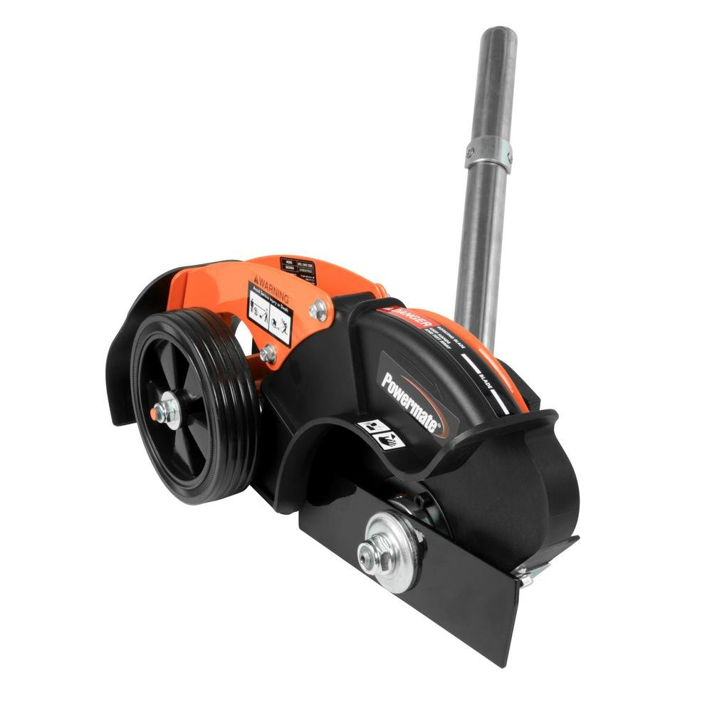 .Powermate. Edger Attachment with 8 in. Straight Blade for Wheeled String Trimmer Mower, Adjustable 2.5'' Max Edging Depth with 4.75'' Dual Wheels,Replaceable Steel Wear Plate