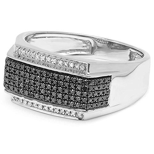 Dazzlingrock Collection 0.42 Carat (ctw) Platinum Plated Sterling Silver Black & White Diamond Men's Hip Hop Ring, Size 10