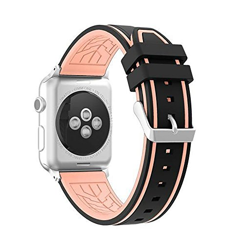 BIYATE Leather Band Compatible with Apple Watch 4 44mm 42mm iwatch Series 3 2 1 Replacement Fashion Strap Bands Buckle Breathable Band for Men Women Girls Boys