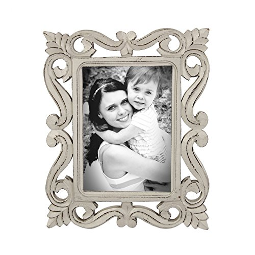 Icrafts Vintage Wooden Single Picture Photo Frame Tabletop Holder with Stand Hand Carved Foliage Design Home Décor |Handmade|(7X5 - Frames Vintage India