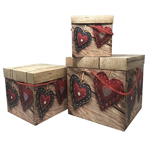 Elegant Decorative Themed Nesting Gift Box Set,Storage Box,Box for Birthday gift (Set of Three) Large,Medium,Small- Easy to Assemble & Reusable-No Glue Required (Black Heart and Red Heart Box)