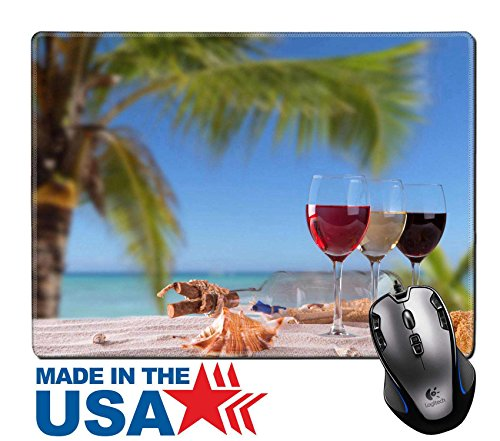 "MSD Natural Rubber Mouse Pad/Mat with Stitched Edges 9.8"" x 7.9"" IMAGE ID: 28830877 Summer concept white nad red wine on tropical beach Blue sky sea (Straw Seashell)"