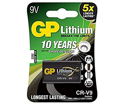 GP Lithium 9V battery. Last 10 years! best for smoke detector. New batch, best before 2025.