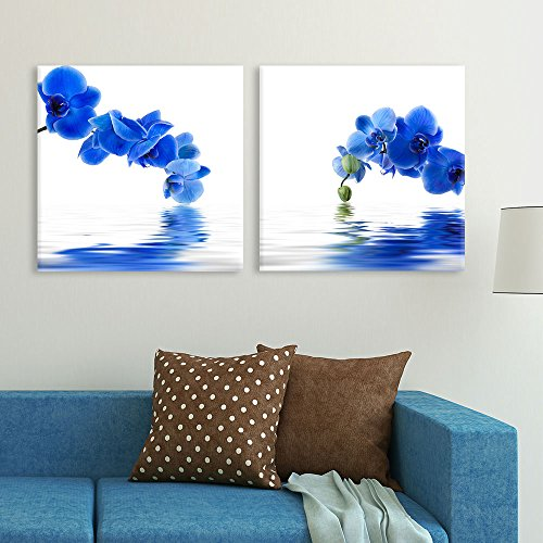 Blue Orchid Flower with Reflection in Water Home Deoration Wall Decor ing x 2 Panels