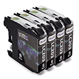 Office World Compatible Ink Cartridges Replacement for Brother lc203 203XL LC203XL (Black, 4 Packs) ¡­