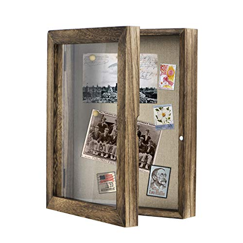 Love-KANKEI Shadow Box Frame 11x14 Shadow Box Display Case with Linen Back Rustic Wood Memory Box for Awards Medals Photos Pictures Rustic Black