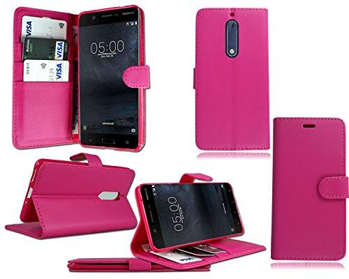 Nokia 6N6New Genuine Schwarz Leder Flip Wallet Phone Case Cover + Displayschutzfolie Black Carbon Wallet Nokia 6 N6 pink wallet