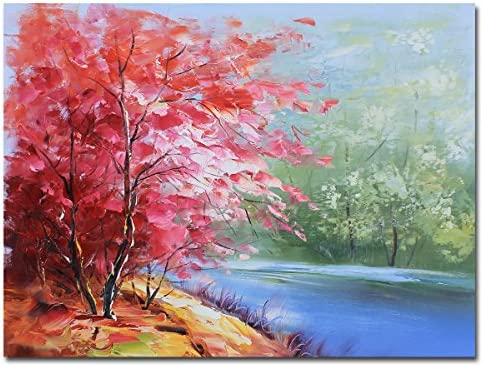 Muzagroo Art Landscape Canvas Oil Paintings Tree Pictures for Wall Pink Paintings Home Art Red, 24x32in