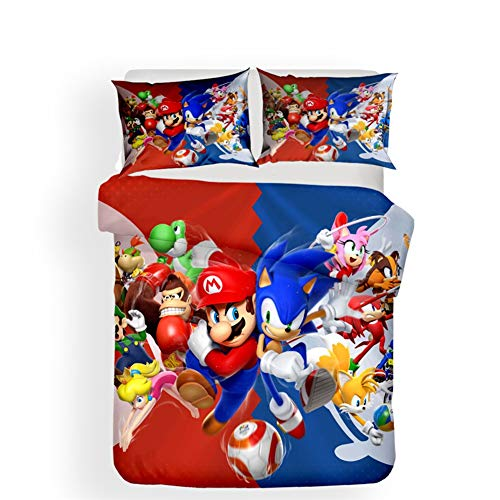 (Mario Print 3D Effect Duvet Cover Set with Pillowcase 3 Pieces Bedding Set for Kids Teen Adults - Full Size,Queen)