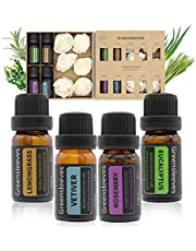 Essential Oils Set, 100% Pure Aromatherapy Essential Oil Gift Kits Lemongrass, Vetiver, Rosemary, Eucalyptus for Aroma Diffuser Humidifier, 4 x 10ml
