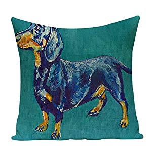 Acelive 16 x 16 Inches Dachshund Dog Pattern Pillow Case Linen Cotton Cushion Throw Pillow Cover Square 1