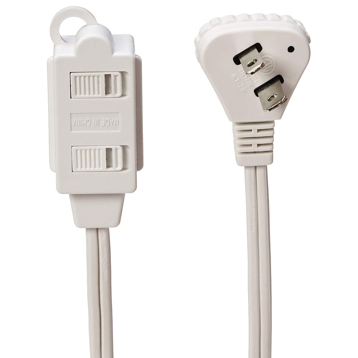 Flat Plug 8-Foot Basics Indoor Extension Cord 2-Pack Grounded White