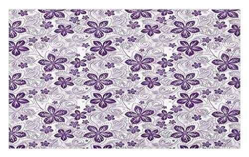 Lunarable Violet Doormat, Swirls and Dots Floral Arrangement with Abstract Composition Geometric Elements, Decorative Polyester Floor Mat with Non-Skid Backing, 30 W X 18 L Inches, White Plum