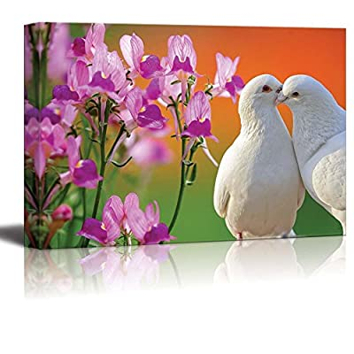Canvas Prints Wall Art - Two Loving White Doves and Butterfly Orchid Flower - 24