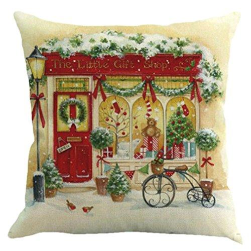 Challyhope Cute Warm Christmas Print Flax Throw Pillow