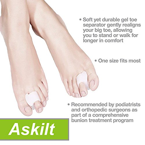 Bunion Corrector and Bunion Care Kit for Tailors Bunion, Hallux Valgus, Big Toe Joint, Hammer Toe, Toe Separators Spacers Straighteners Splint,Toe Straightener, Broken Toe Wraps (Beige) by Askilt (Image #3)