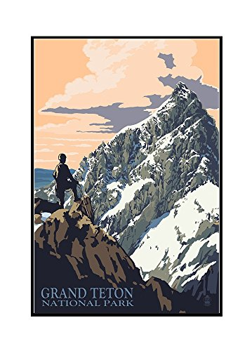 Teton Pines Bedroom - Grand Teton National Park, Wyoming - Climber (16x24 Framed Gallery Wrapped Stretched Canvas)