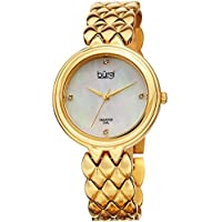 Burgi Women's BUR193YG Diamond Accented Mother-of-Pearl Dial Yellow Gold Stainless Steel Bracelet Watch