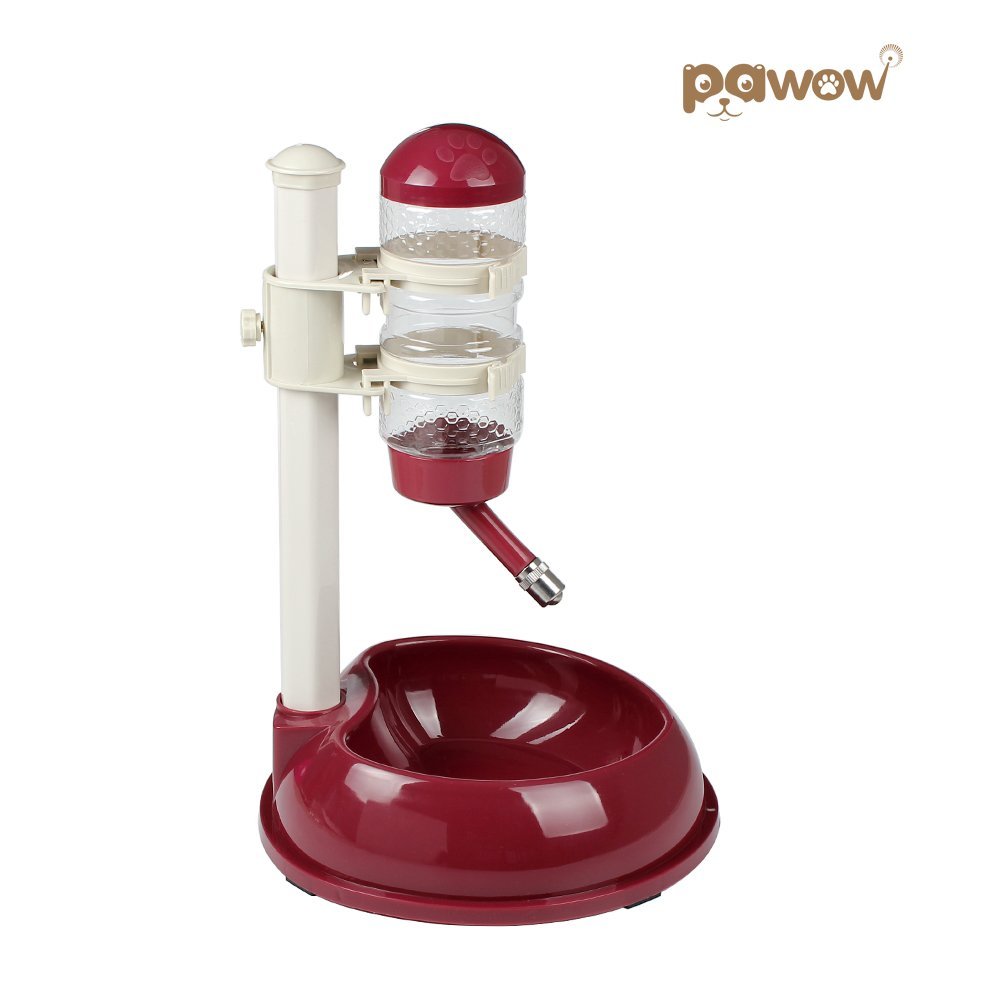 Pawow Pet Dog Cat Automatic Water Food Feeder Bowl Bottle Standing Dispenser, Wine Red