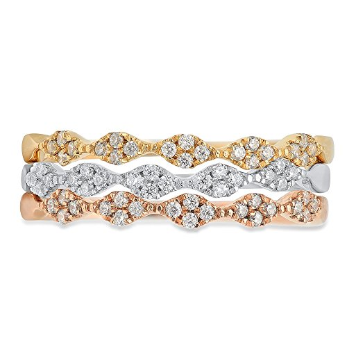 0.9ct Brilliant Round Cut Solitaire Petite Stacking Band 14k Solid Tri-Tone Gold, 5.75 by Clara Pucci