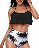 Women Black Double Falbala Halter Neck Print Bikini Set, Ruched High Waisted Two Piece Swimsuits, S