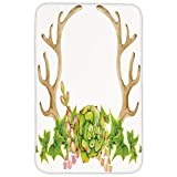 Rectangular Area Rug Mat Rug,Antler Decor,Antlers Decorated with Fresh Green Succulent Cactus Plant Spring Leaves,Light Brown Green,Home Decor Mat with Non Slip Backing