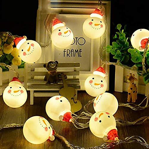 (Powstro Snowman String Light 10 LEDs Battery Operated Waterproof Christmas Lights for X-mas Tree Party Garden Indoor and Outdoor)