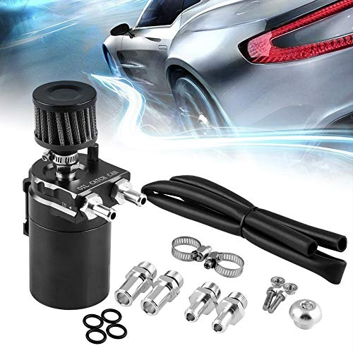 Ruien Universal 400ml Oil Catch Can Tank with Breather Aluminum Compact Dual Cylinder Polish Baffled Engine Air Oil Separator Tank Reservoir Kit Black