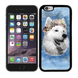 Funda carcasa TPU (Gel) para Apple iPhone 6-6S Plus diseño perro con corona de flores fondo azul borde negro