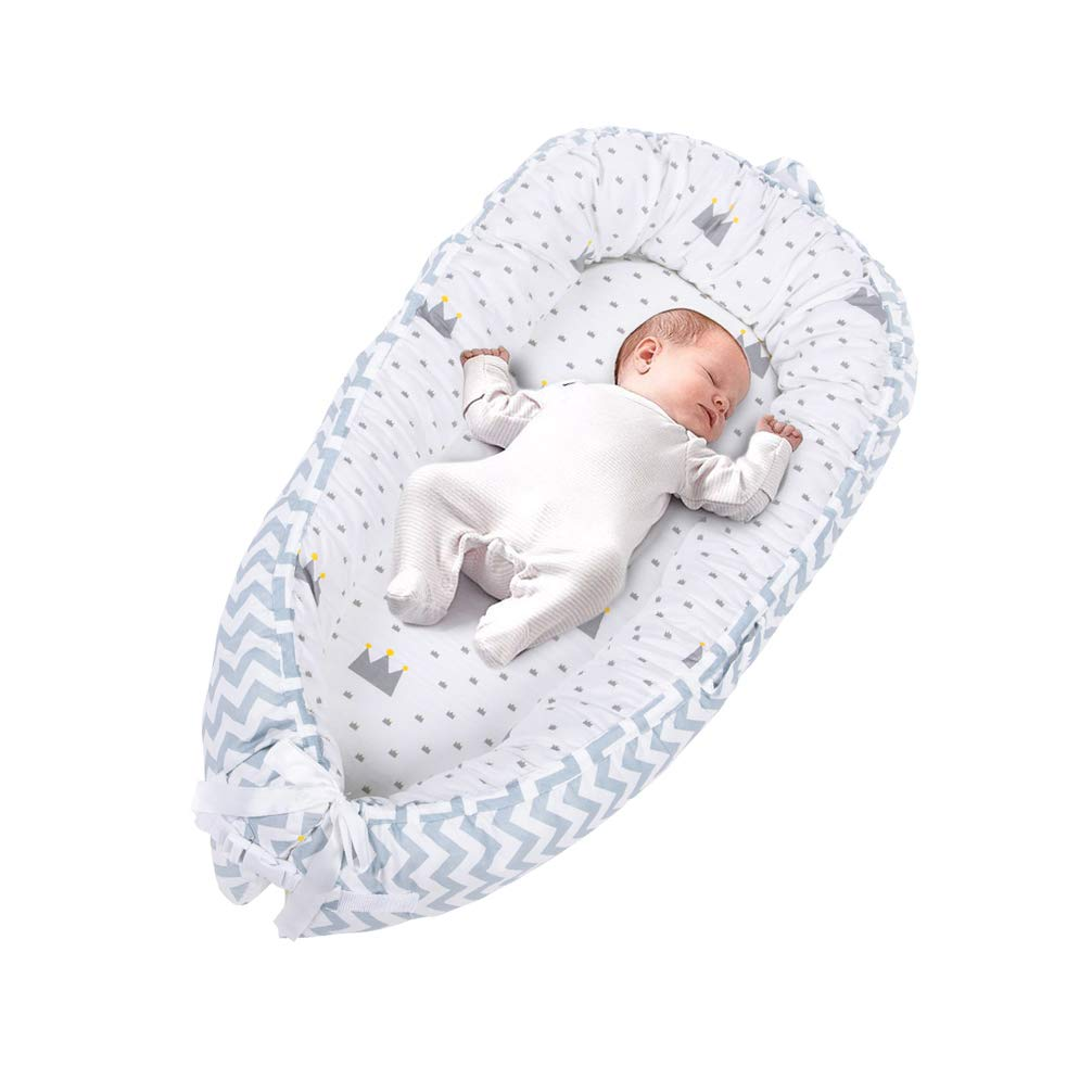 LOAOL Baby Portable Lounger Infant Snuggle Nest Bassinet Reversible Co Sleeping Cribs Newborn Bumper (BY-2013)