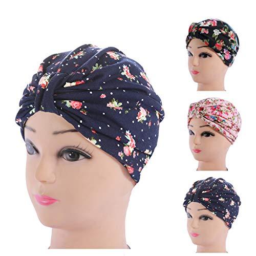 (Little sheep 3 Pack Womens Floral Print Cotton Turban Chemo Sleep Cap,Turban Hat Cap Hair Wrap)