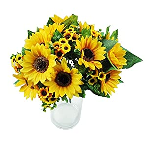 Shineweb 7 Scape Fake Sunflower Artificial Silk Flower Bouquet Home Wedding Floral Decor Pack of 3 1