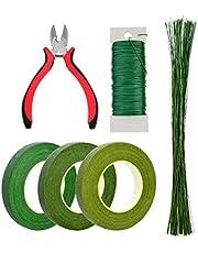 "Bantoye 6 Pcs Floral Arrangement Tool Kit, 4.7"" Wire Cutter, 3 Rolls Floriculture Paper Tapes 26 Gauge Floral Wire & 16 Inch Floral Stem Wire for Bouquet Stem Wrap Florist"