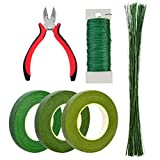 Bantoye 6 Pcs Floral Arrangement Tool Kit, 4.7'' Wire Cutter, 3 Rolls Floriculture Paper Tapes 26 Gauge Floral Wire & 16 Inch Floral Stem Wire for Bouquet Stem Wrap Florist
