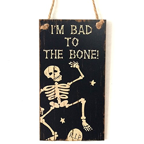 NEWNESS WORLD Skeleton Theme I'm Bad To The Bone Horror Halloween Yard Sign Wooden Halloween Party Wall Hanger Decoration(7.99 by 4.33 (Wooden Halloween Yard Signs)
