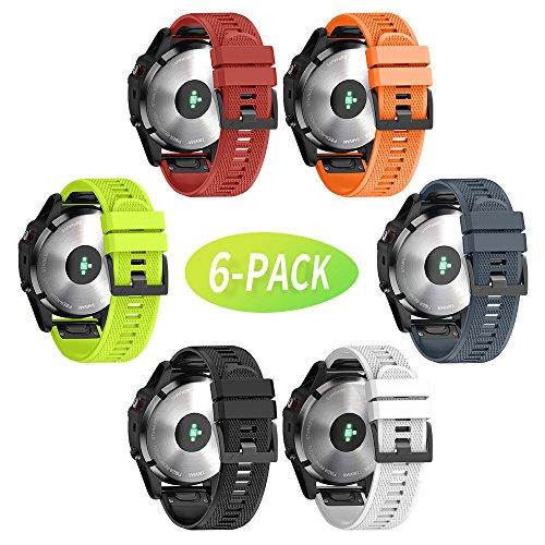 Notocity Compatible Fenix 5X Band 26mm Width Soft Silicone Watch Strap for Fenix 5XFenix 5X Plus//Fenix 3/Fenix 3 HR Smartwatch-6pcs