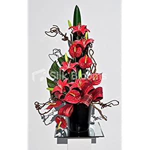 Beautiful Red Stargazer Lily and Anthurium Floral Table Arrangement 5