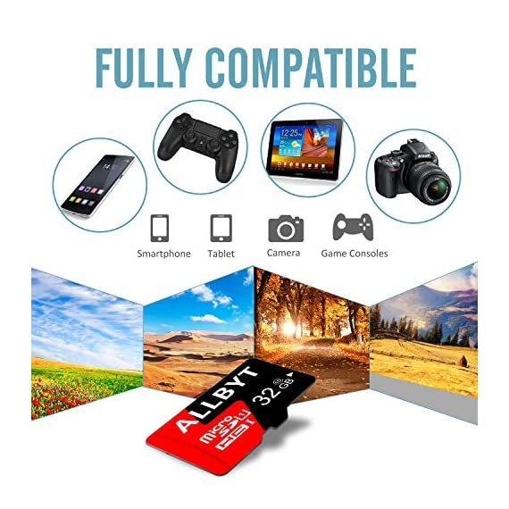 ALLBYT Micro SD Card 32GB Class 10 Micro SD Card with Adapter, TF Memory Card Compatible Smartphone, Tablets, DSLR and HD Camcorder (Black/Red) 2 ALLBYT Micro SDHC Class 10 UHS-1 Up to 95MB/s & 20MB/s read & write speeds respectively. Micro SD Cards High compatibility for different types of devices including smartphones, tablets, DSLR and HD camcorder. TF Card Come with a SD card adapter that enables versatile usages for any SD enabled devices.