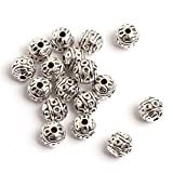 GEM-inside Ball Flower Bali Style Metal Antique Tibetan Silver Findings Jewelry Making Spacer Beads Charms Jewelry Findings Jewelry Making DIY Connectors(FGP0119)