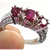 Women Fashion 925 Sterling Silver Red Ruby Gemstone Ring Wedding Jewelry New pimchanok (8)