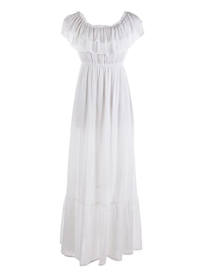 1900-1910s Clothing Anna-Kaci Womens Boho Peasant Ruffle Stretchy Short Sleeve Maxi Long Dress $25.99 AT vintagedancer.com