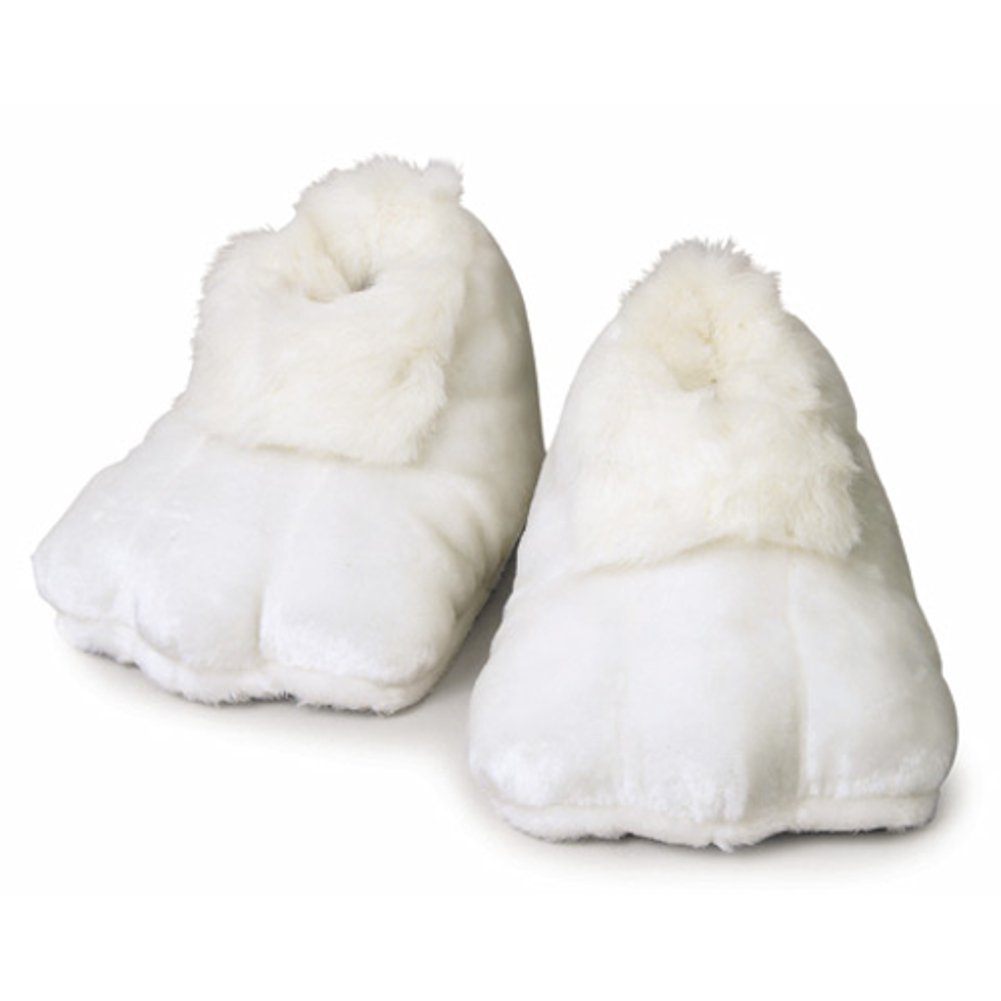 White Plush Bunny Adult Shoes (Pair) Easter Rabbit Mascot Feet Costume Slippers 22020403