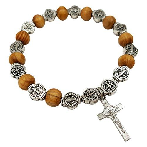 Talisman4U Rosary Beads Catholic Bracelet Saint St Benedict Medal Crucifix Wood Bead Stretch Bracelets