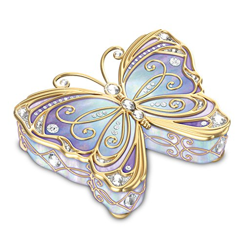 Bradford Exchange The Butterfly Heirloom Porcelain Collectible Music Box with Velvet Lined ()
