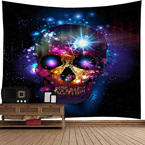Light Tapestry Throw - Wall Tapestry, Halloween Festive Atmosphere Wall Hanging Throw Blanket with Purple Shinny Light Spooky Skeleton Skull Hippie Print Bohemian Wall Decorations Tablecloth Room Decor (79