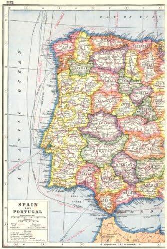 Iberia oeste. España y Portugal Mostrando Provincias. Telégrafo Cables – 1920 – antiguo antiguo mapa vintage – Juego de funda nórdica Mapas de Iberia: Amazon.es: Hogar