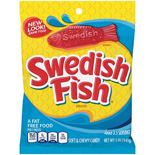 Swedish fish soft chewy candy original 5 ounce bag for Swedish fish jelly beans