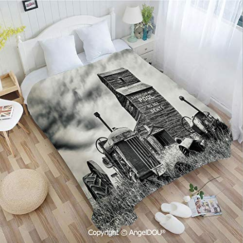 AngelDOU Warm air Conditioner Flannel Blanket W72 xL86 Old 60s Abandoned Tractor in The Farm in Central Canada Nostalgic Machinery Elements for Bed Cover Sofa car use.