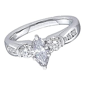 14k White Gold Marquise Solitaire Diamond Engagement Ring Three Stone Bridal Band Fancy 1.00 ctw Size 8